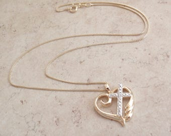 Sterling Cross in Heart Necklace with Diamond Vermeil Vintage CW0212