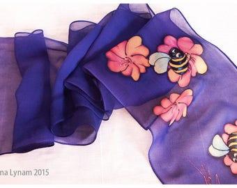"Hand painted silk scarf. Honeybee Silk Scarf. 8x52""~Silk scarf handpainted~Bee silk scarf~Painted silk scarf~Purple silk scarf~Silk painting"