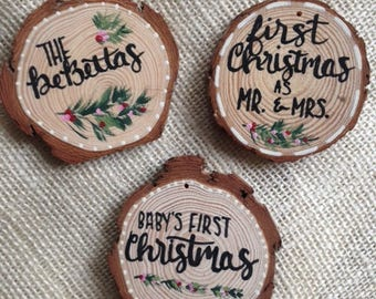 Wooden Christmas Ornament/Personalized family ornament/ Christmas gift/ Christmas ornament/  Baby's first christmas/Our First Christmas