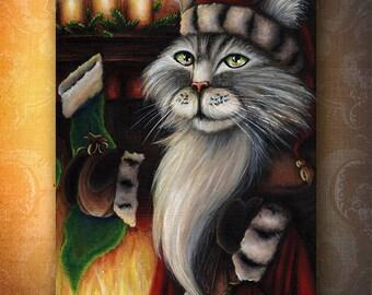 Santa Cat Fireplace Christmas Stocking, 5x7 Holiday Fine Art Print