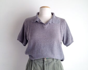90s pullover sweater womens polo shirt vintage knit tops cotton boxy crop top grey cropped sweater short sleeve