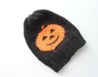 Halloween hat Pumpkin hat, Pumpkin beanie, Hand Knitting , Hat, Pumpkin, Teenage, Orange, Black, Horror, With Free Gift
