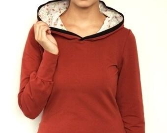 jersey hoodie - copper - flowers - longsleeve