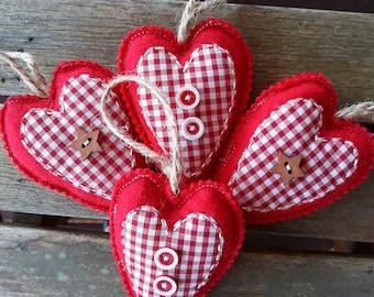 Handmade Red Felt Padded Filled Heart Star Button Four Primitive Hanger Twine Decor