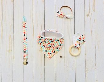 Baby Girl Gift Set, bandana bib, wooden teether, pacifier clip, fabric bow headband, 4 piece gift set, baby shower gift, READY TO SHIP