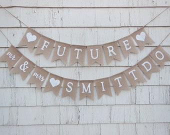 Couples Shower Decorations, Engagement Party Decor, Engagement Party Banner, Future Mr and Mrs, Bridal Shower Banner, Rehearsal Dinner Ideas