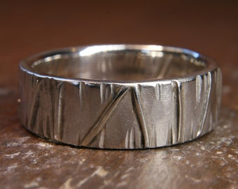 Eco Gothic 6mm wide wedding ring. Recycled silver or gold.