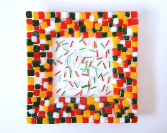 Little Squares Fused Glass Plate, Fused Glass Plate