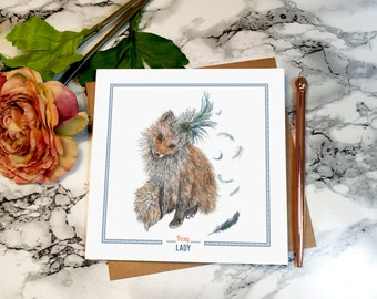 Foxy Lady // Square Greeting Card, Fox Illustration