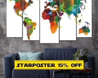 Colorful World Map, World Map Wall Art, Map Canvas, World Map Canvas, World Map, Colorful Map, Map Wall Art, Map Print, World Map Print
