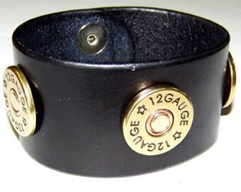 Item 090112 Shotgun Shell Leather Bracelet