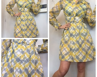 70s yellow grey collared dress uk 8/10 check print long sleeves