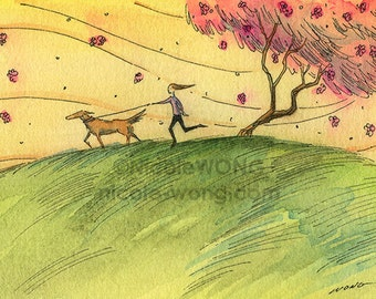 Original ACEO Watercolor Painting and Ink Drawing Artwork -- Quiet