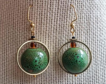orbital earrings, sage
