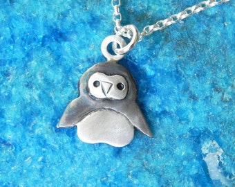 Baby penguin necklace in sterling silver cute Winter Christmas Gift
