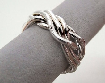 SPAGHETTI - Unique Puzzle Rings by PuzzleRingMaker - Sterling Silver or Gold - 5 Bands