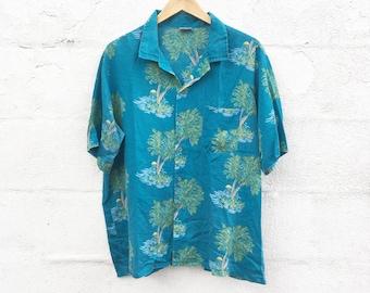 80's Teal Blue Hawaiian Shirt