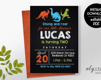 Dinosaur Invitation Dinosaur Birthday Invitation Dinosaur, Digital Invitation Dinosaur Birthday Party, Instant Download,