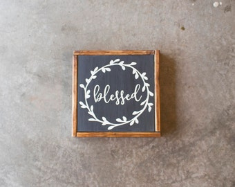 """Wood Sign - Blessed - Rustic, Gift, Christmas, Thanksgiving, Home Decor, 12x12"""""""