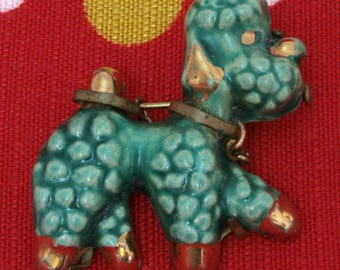 1950's Green Ceramic Poodle Brooch