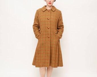 Vintage 70s Plaid Coat - Jacket, Winter, Fall, Button Up, Argyle