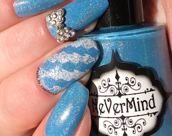 Discontinued - Frozen Moon - Blue Holographic Nail Polish - Light Blue Holo - Winter Solstice Collection