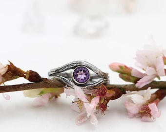 Sterling Silver Amethyst Twig Ring - ANY SIZE - twig ring - silver woodland ring - handmade Amethyst ring