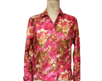 chemisier Vintage 1960 / Gabey / coton / fleurs / bouton avant blouse / bold print / blouse vintage femmes / tag taille 14