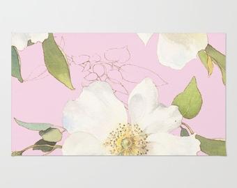 Floral Area Rug - Pink Floral Area Rug - Modern Flower Rug - Home Decor