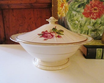 Victoria By Syracuse Coveed Vegetable Bowl, Federal Shape, 1950's China, Cottage Chic, Mother's Day Roses Dinnerware
