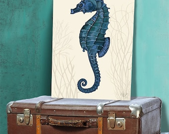Seahorse wall art Dark Blue on cream 2, seahorse décor Seahorse wall decor Seahorse print sea life poster Nautical Art Nautical Poster beach