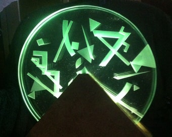 Vintage 1988 Signed Axel Gregory Mounted and Illuminated Geometric Etched Glass Discs
