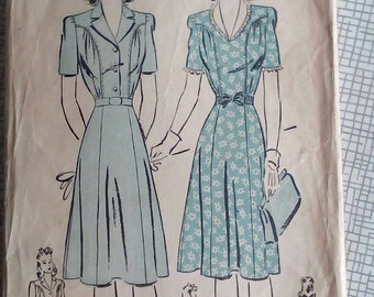"1940s Dress - 40"" Bust - Advance 3059 - Vintage Sewing Pattern"