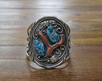 Vintage Navajo Sterling Silver Turquoise and Coral Statement Bracelet