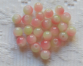 25  Pistachio Lime Green & White Rose Pink Opal Round Glass Beads  6mm