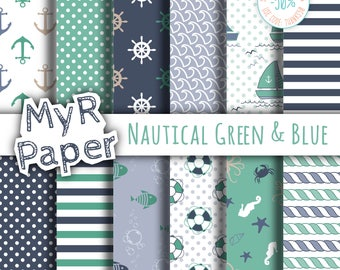 """Digital Paper Pack: """"Nautical Green & Blue"""" patterns and backgrounds with anchor, rudder, sailboat, fish, seawaves. Digital Scrapbooking"""