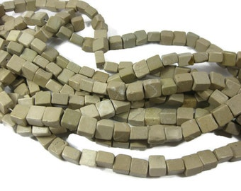 10mm Natural Taupe Marble Square Beads