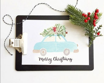 Greeting Card *DIGITAL PRINT* Merry Christmas, Blue Car
