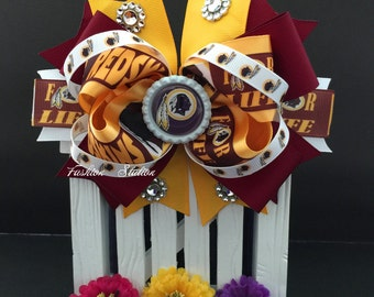 Burgundy Football hair bow  ~ Bow measures approximately 6.5 inches