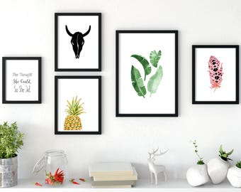 GALLERY WALL, 5 piece gallery wall prints, gallery wall set, gallery wall art, gallery wall decor, gallery wall nature print set gallery set