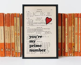 Anniversary Gift - Prime Number - Book Page Print - Geeky Gift - Gift For Him - Boyfriend Gift -  Nerdy Valentine's - Valentine's Day Gift