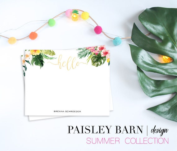 Tropical Floral Custom NOTECARDS | gold, skincare, thank you note, card, tropical, green, summer, personalized, printed, custom, floral