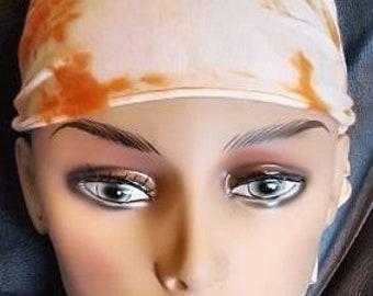 "Chemo Caps  ""ORANGE TYE DYE""   Fantastic Elastic Headwrap"