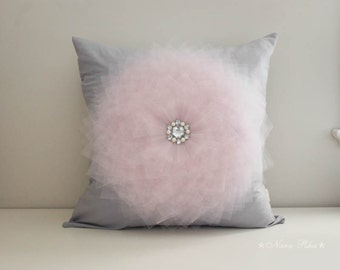 Baby Pink Flower Pillow Cover Light Pink Flower on Gray Pillow Throw Pillow Couch Pillow Cushion Cover Accent Pillow 18 x 18