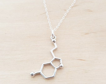 Serotonin Necklace - Molecule Necklace - Science Necklace - Geek Necklace - Sterling Silver Necklace - Simple Jewelry / Gift for Her