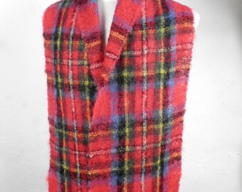 Vintage Royal Stewart Tartan Brushed Wool Scarf Made in Scotland Classic Traditional