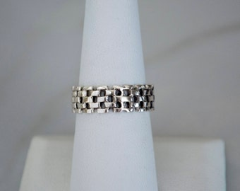 Sterling Silver Ring for Women or Men, Open Basket Weave Ring, Oxidized Silver Ring