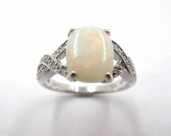 Sterling Silver Synthetic Opal & Diamond Cushion Ring