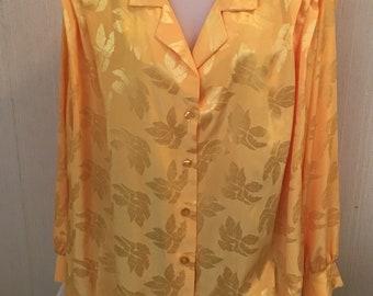 1980's SILKY POLYESTER BLOUSE. Ladies vintage gold blouse sz 2-3X