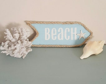 Reclaimed wood beach sign.  Hand painted beach sign